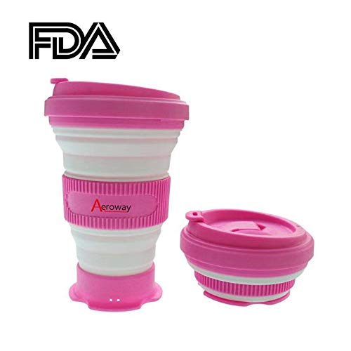 The Genuine Foldable 20oz Drinking Cup with Lid,BPA Free,Water,Coffee,Tea for Indoor and Outdoor Camping or Hiking,Picnic,Pink Aeroway/® Collapsible Silicone Travel Cup