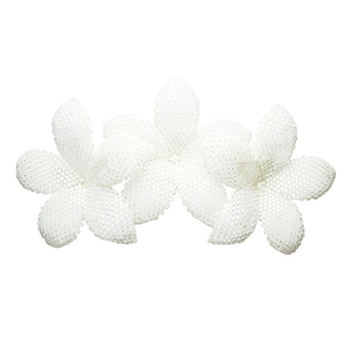 Heart in Hawaii Beaded Plumeria Trio - Sparkly White Satin by Heart in Hawaii