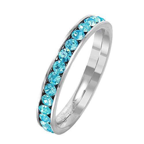 SURANO DESIGN JEWELRY 3mm Stackable Stainless Steel Eternity Band Ring w/Crystal Birthstones (March-Aquamarine Colored, ()