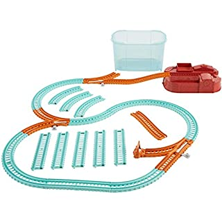 Thomas & Friends Trackmaster Builder Bucket, Storage Container with 25 Train Track and Play Pieces for Preschool Kids