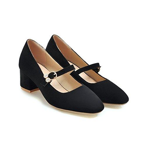 Qin&X Bloque de Mujeres Cabeza Cuadrada Boca Superficial Zapatos Negro