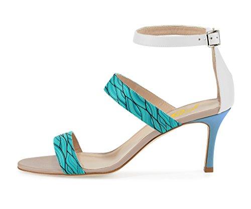 Ankle Sandals 12 Sandals Toe High Buckle Open Light Sea Green FSJ Heel Size Women Straps xzwqH00AT