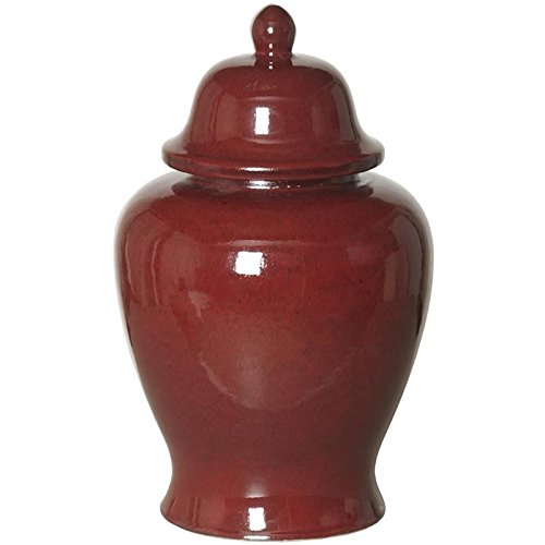 Contemporary Asian Traditional Red Ginger Jar Stylish Asian Decorative Storage Containers Jars