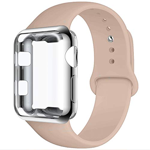 GBPOOT Compatible for Apple Watch Band 42mm, Soft Silicone Replacement Sport Wristband with Apple Watch Screen Protector Case Compatible for Apple Watch Iwatch Series 1/2/3-Walnut 42L