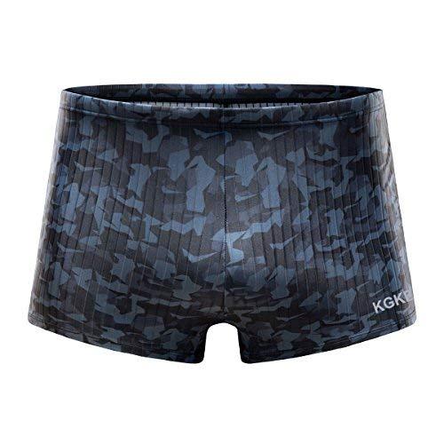 KGKE Swim Boxer Briefs Short Swim Jammer Camo Racer Mens Square Leg Swimsuit (Grey Camo Strip, XL) (Tanning Swimsuit Men)