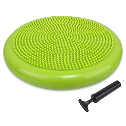 Trideer Inflated Stability Wobble Cushion Pump, Extra Thick Core Balance Disc, Kids Wiggle Seat, Sensory Cushion Elementary School Chair (Office & Home & Classroom) (34cm Yellow Green)