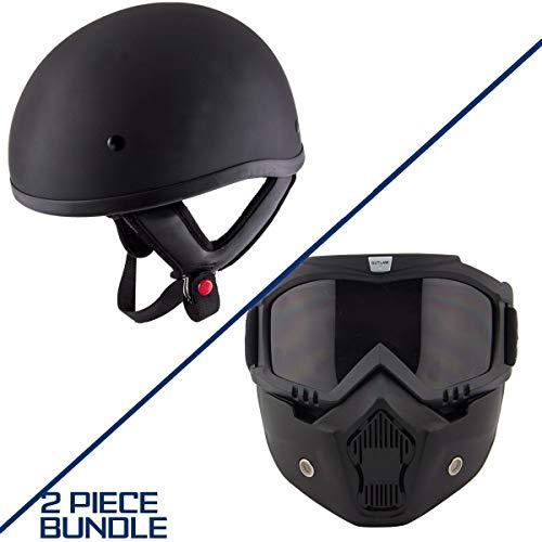 Hustler DOT HT-1 Solid Flat Black Skull Cap Helmet with Outlaw 50 'Nemesis' Vintage Face Mask - X-Large w/ 50 Outlaw Mask