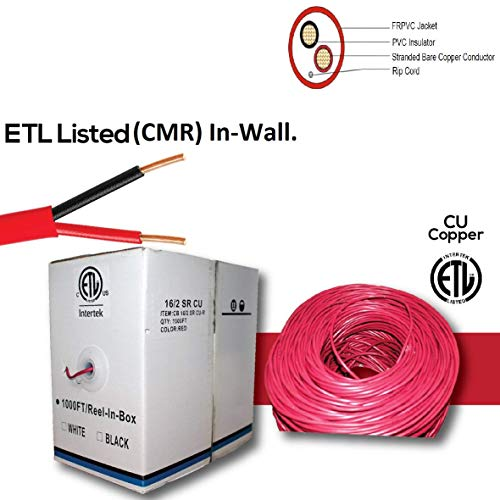 Fire Alarm Wire Cable, 16 AWG, 2 Conductor, FRPVC Stranded Bare Copper, FPLR (Riser), 1000FT Pull Box 16/2 Red ETL Listed ()