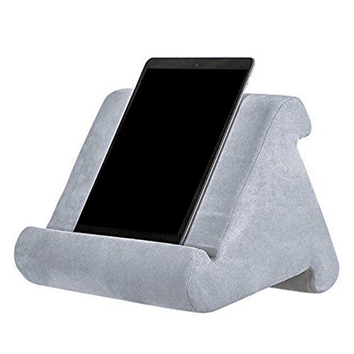Automotor Multi-Angle Tablet Stand Soft Pillow Holder Reading Pillow for iPads, Tablets, eReaders, Smartphones, Books, Magazines (Gray)