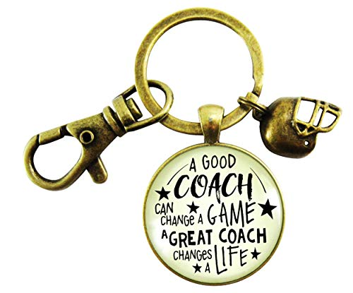 (Football Coaching Keychain A Great Coach Changes A Life Quote Thank You Key Ring Appreciation Gifts For Men)