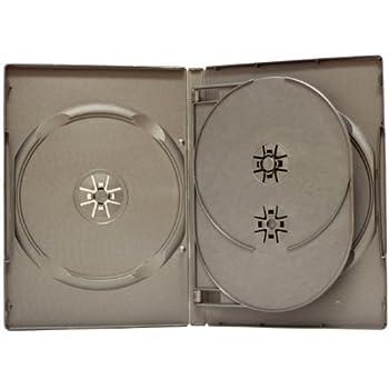 SquareDealOnline - DV4R14BKWT - Standard 14mm DVD Cases - 4 Disc Capacity - Black - (10 Pack)