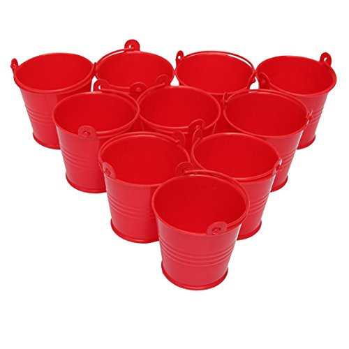 SODIAL(R) 10Pcs Mini Buckets Candy Favours Pails Buckets Gifts,Red ()