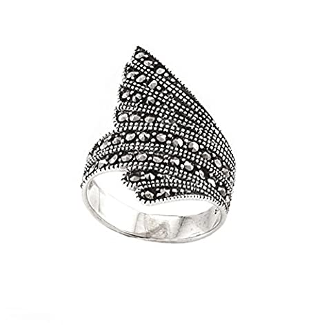 Silverly Womens .925 Sterling Silver Simulated Marcasite Gemstone Feather Wing Ring (Marcasite Rings Size 11)