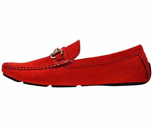Amali Mens Plush Microfiber Faux Suede Loafer Driving Shoe with Buckle Style Norwalk, Walken, Knotter Red/Silver