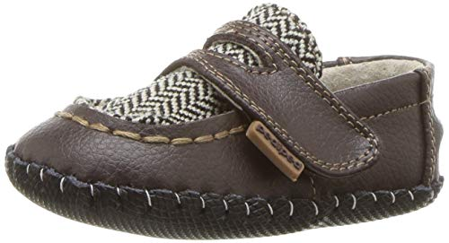 pediped Boys' Charlie Crib Shoe, Brown Herringbone, 12-18 Months Child EU Infant (12-18 Months US)