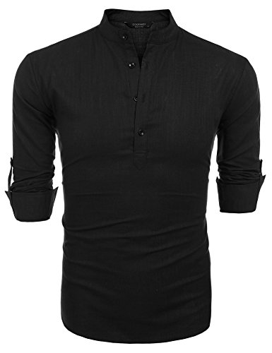 COOFANDY Men Premium Henley Neck Linen Shirts Casual Long Sleeve Basic Shirts,Black,Large