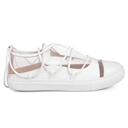 Brinley Co Womens Hiro Faux Leather Mesh Athleisure Ankle Wrap Strap Sneakers White, 10 Regular US