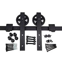 HK13 Sliding Barn Door Hardware Kit, J Shape Hangers, Big Industrial Wheel, 6.6 ft Track, by Rusty Design