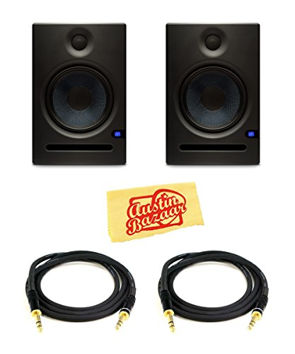 PreSonus Eris E8 8-Inch 2-Way Active Studio Monitor Pair Bundle with TRS Cables and Austin Bazaar Polishing - Way 8 2 Studio Active Inch
