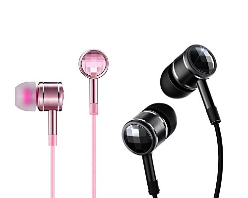 Price comparison product image 1MORE Dual Pack Swarovski Crystal In-Ear Headphones (Earphones / Earbuds / Headset) with Apple iOS and Android Compatible Microphone and Remote (Pink and Black)