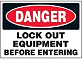 Vinyl Lock-Out Labels - Danger Lock Out Equipment Before Entering - 5''h x 7''w, White DANGER LOCK-OUT EQUIPMENT BEFORE ENTERING - Super-Stik Adhesive