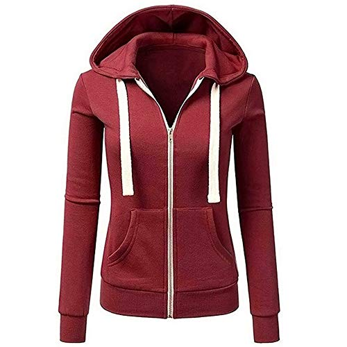 (TOPUNDER Long Sleeve Patchwork Solid Color Hooded Zipper Casual Sport Coat Women)