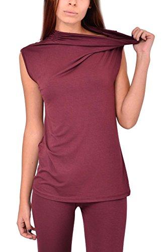 VILLAGGIOWEAR Made in Italy Top Bordeau Viscosa Jersey Canotta Abbigliamento Moda Donna