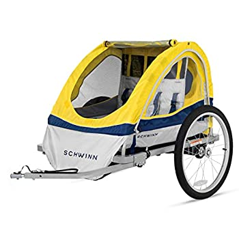 Image of Child Carrier Trailers Schwinn Echo Kids/Child Double Tow Behind Bicycle Trailer, 20 inch wheel size, foldable, yellow