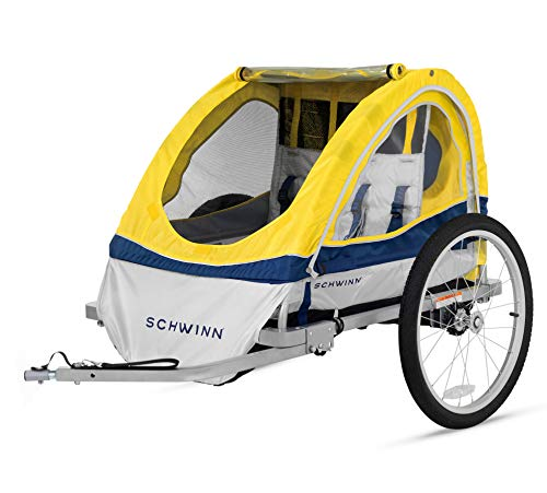 (Schwinn Echo Kids/Child Double Tow Behind Bicycle Trailer, 20 inch wheel size, foldable, yellow)