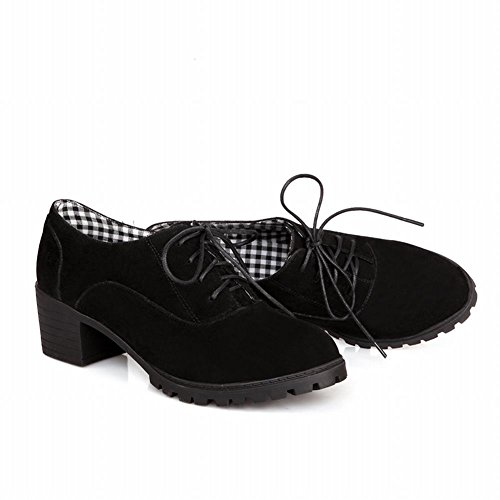 Nubuck Style Western Black Oxfords Chunky Low heel Latasa Women's Fashion OqwFAEA