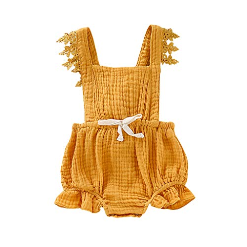 Romper for Baby Girl Shusuen Jumpsuits Bodysuits Lace Flutter Sleeve One-Piece Outfits Clothes Yellow