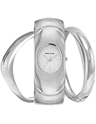 Anne Klein Womens Silver-Tone Bangle Bracelet Watch & Bangle Bracelets Set 30mm AK/2637SVST