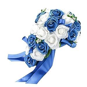 SoundsBeauty Wedding Bouquet Bridal Bridesmaid Artificial Foam Rose Flower Handmade Decor - White & Royal Blue 100