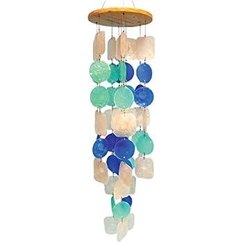 Circles & Squares Multicolored Capiz Wind Chime(65cm length)