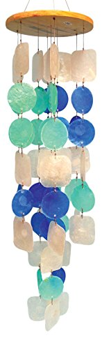 Circles & Squares Multicolored Capiz Wind Chime(65cm length)  -