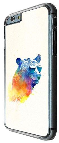 349 - Splash watercolor Bear Sunglasses Design iphone 6 6S 4.7'' Coque Fashion Trend Case Coque Protection Cover plastique et métal