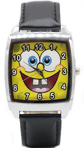 SpongeBob Squarepants Square Face Black Leather Band Wrist Watch