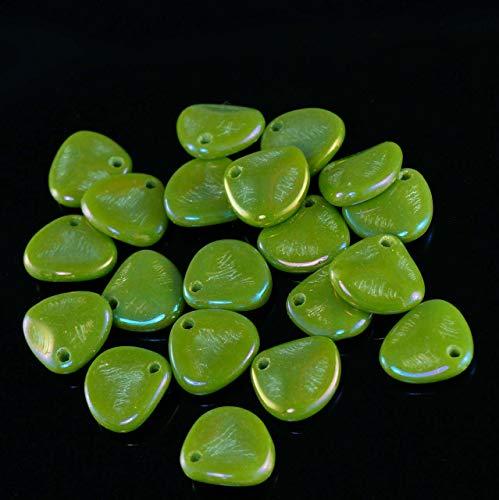 50pcs Iris Opaque Olive Green Czech Rose Petal Beads Czech Glass Preciosa Pressed Beads Czech Flower Flat Rose Petal Beads 8mm x 7mm