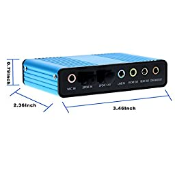 Optimal Shop USB 2.0 External Sound Card 6 Channel 5.1 Surround Adapter Audio S/PDIF for PC-Blue
