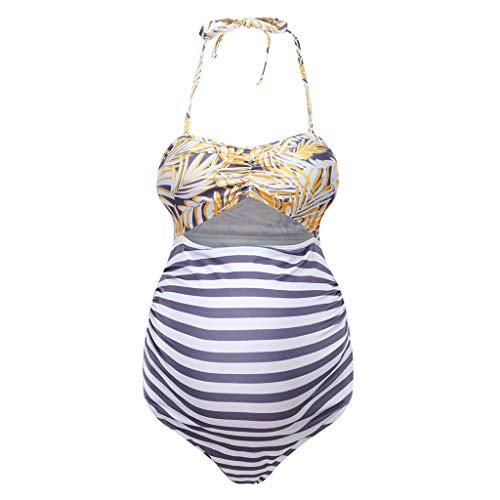 Maternity Bathing Suits One-Piece For Women,Wesracia Pregnancy Halter Swimsuit Top With Bottom,Mom-To-Be Gifts(Yellow,3XL) ()