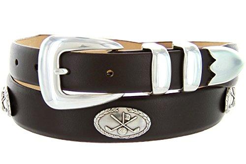 Golf of Palisades Genuine Italian Calfskin Leather Designer Dress Golf Belt for Women(Smooth Brown, (Ladies Golf Belts)