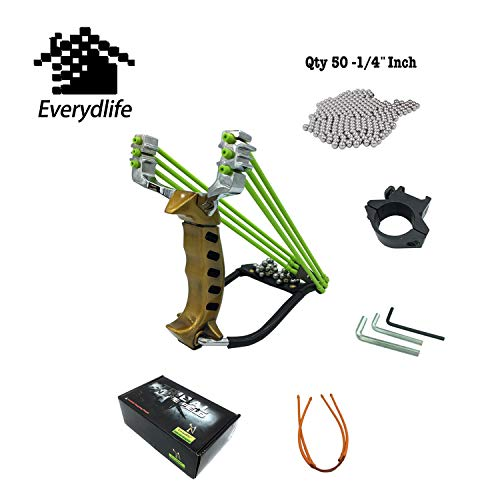 Everydlife Stainless Adjustable Adult Hunting Slingshot Kit,50 Qty Steel Slingshot Ammo Balls,Professional Outdoor Slingshots Rubber Bands(2Pieces) and Flashlight Shelf (Gold) (Band Porcelain Gold)