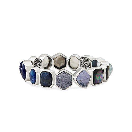 Stephen Dweck femme  Argent 925/1000  Argent|#Silver Rond  Perle de culture de Mabé Bleu Kristall Perle