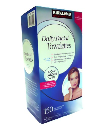 Kirkland Signature Hypoallergenic Daily Facial Towelettes 150 ct. - Signature Travel Wipes