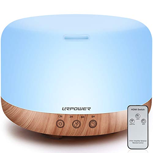 URPOWER 1000ml Essential Oil Diffuser Humidifiers Remote Control Ultrasonic Aromatherapy Diffusers Room Decor Running 20 Hours with Adjustable Mist Mode,Water-less Auto Shut-Off & 7 Color LED Lights (Best Ultrasonic Aromatherapy Diffuser)