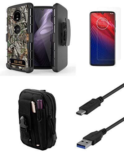 - Bemz Accessory Bundle Kit for Moto Z4: BC Armor Case with Belt Holster Clip (Tree Camo), Screen Protector, Tactical Organizer Travel Pouch, USB 3.1 Type-C SuperSpeed Cable (3.3 Feet)