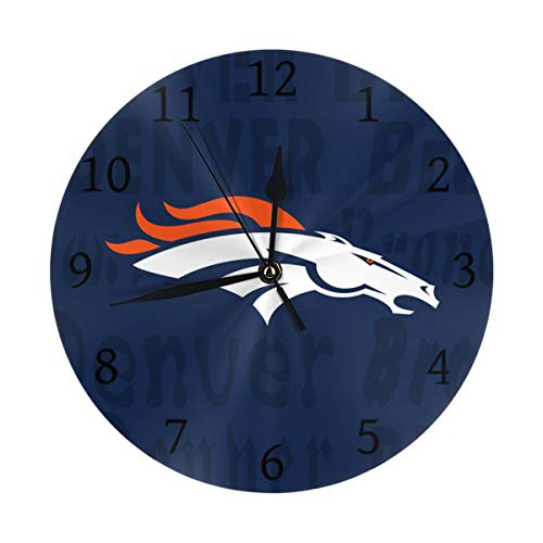 Gdcover Custom Denver Broncos Quartz Wall Clock Arabic Numerals Silent Non-Ticking for Home Living Room Decor (9.8 Inch)
