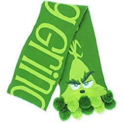 Dr. Seuss The Grinch Movie Resting Grinch Face Adult Knit Scarf (One Size, Green)