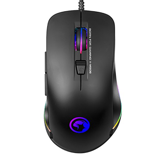 MARVO Advanced Gaming Mouse RGB Backlit Laptop Mouse 3200 DPI 7 Button USB Wired Computer Mouse with Adjustable Backlight Gaming Mice Fit for PC Laptops Computer, Ergonomic Design