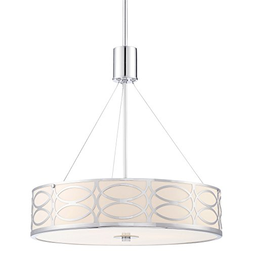 Kira Home Sienna 18 3-Light Metal Drum Chandelier Glass Diffuser, Chrome Finish
